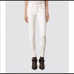 All Saints ankle cropped white jeans